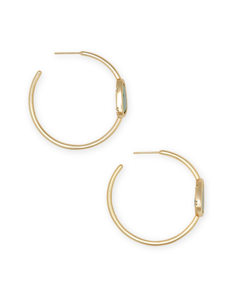 Margot Gold Hoop Earrings in Sea Green Chrysocolla