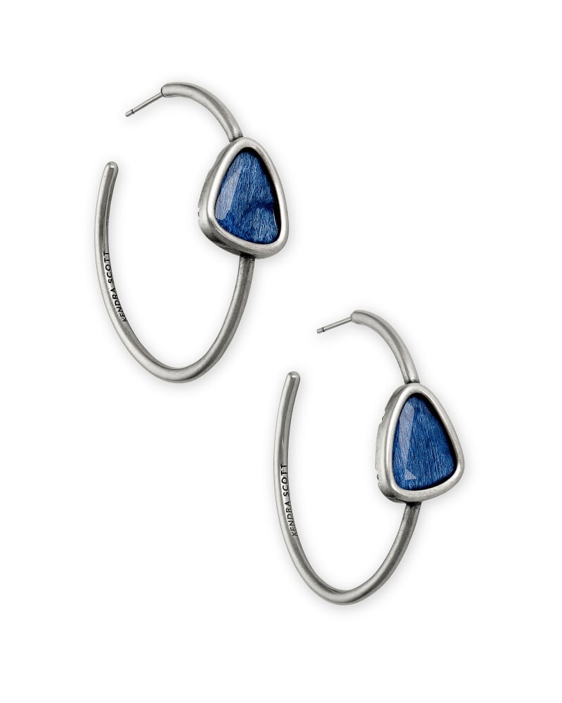 Margot Vintage Silver Hoop Earrings in Navy Wood
