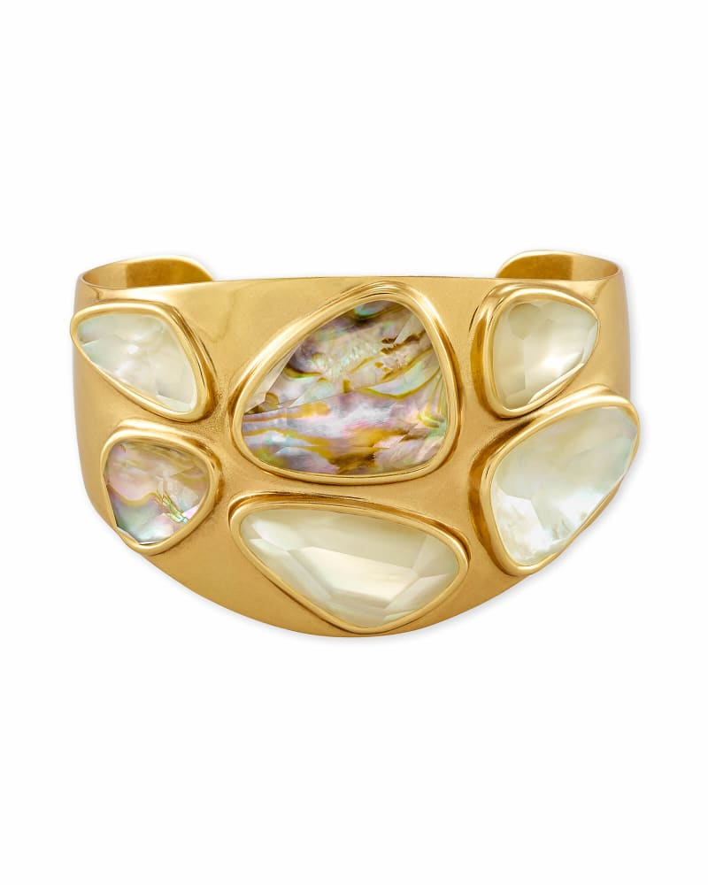 Margot Vintage Gold Statement Cuff Bracelet in White Mix