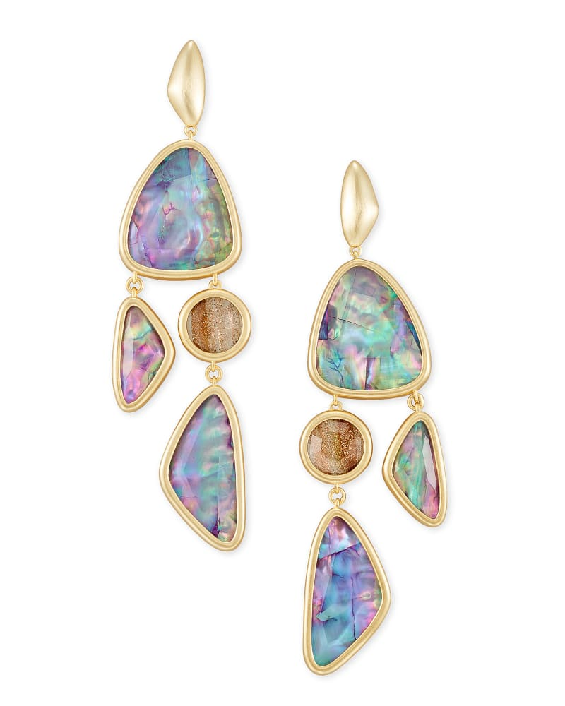 Margot Gold Statement Earrings in Lilac Abalone