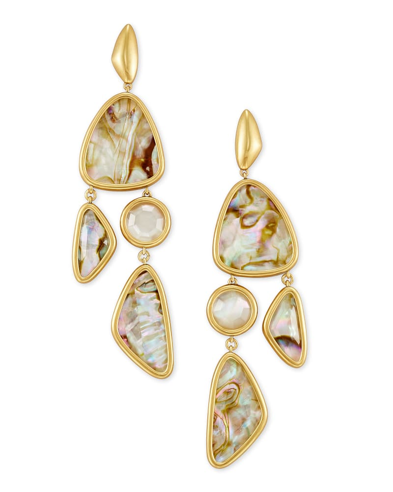 Margot Vintage Gold Statement Earrings in White Abalone