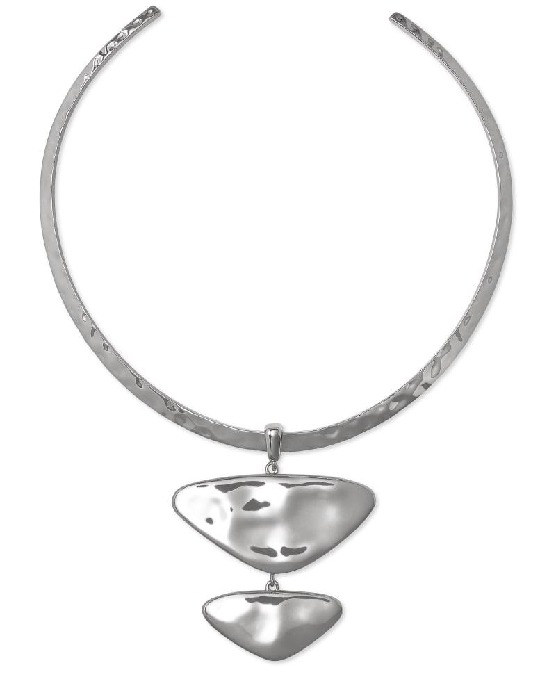 Margot Vintage Silver Statement Necklace in Navy Wood