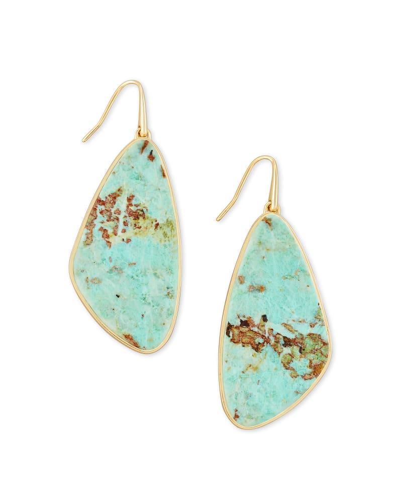 Mckenna Gold Drop Earrings in Sea Green Chrysocolla