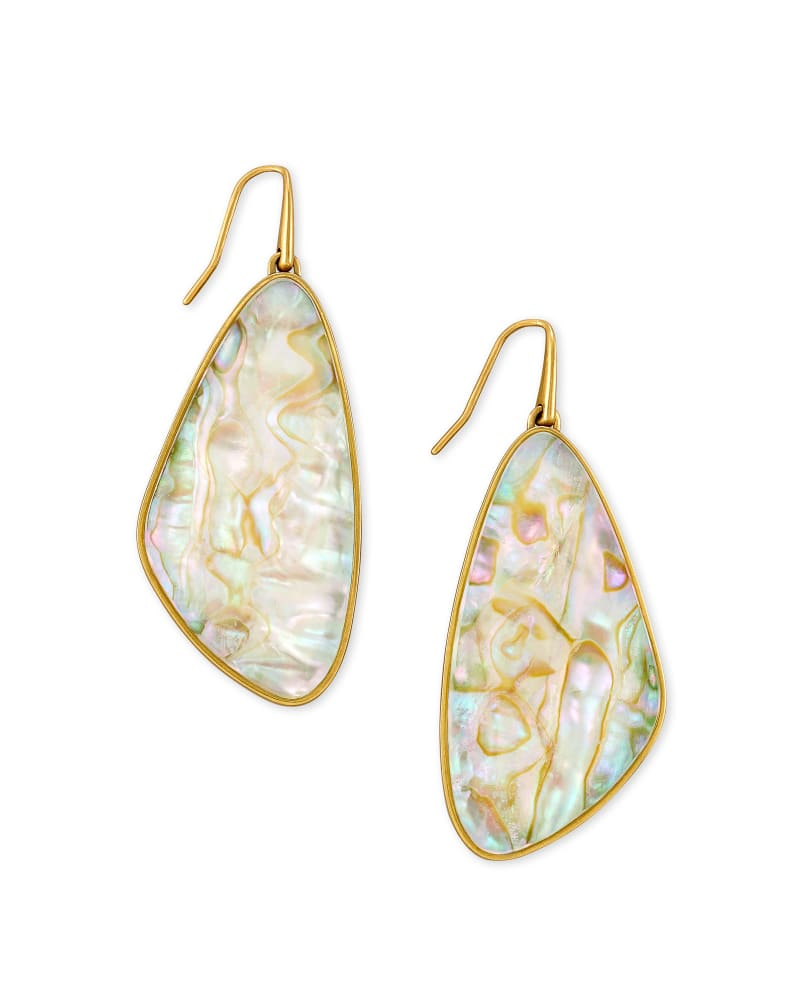 Mckenna Vintage Gold Drop Earrings in White Abalone