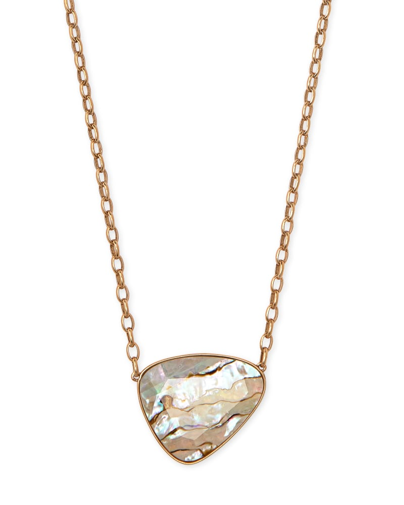 Mckenna Vintage Gold Pendant Necklace in White Abalone