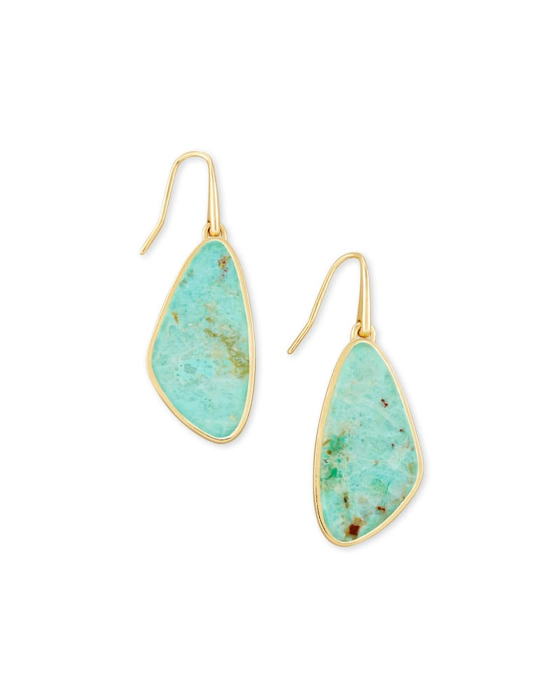 Mckenna Gold Small Drop Earrings in Sea Green Chrysocolla