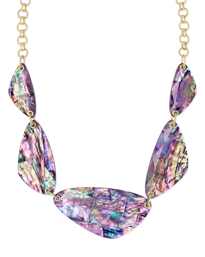 Mckenna Gold Statement Necklace in Lilac Abalone