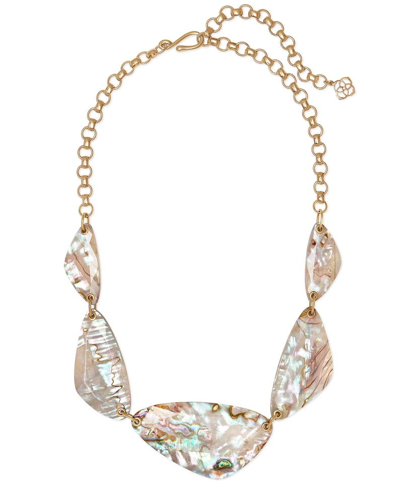 Mckenna Vintage Gold Statement Necklace in White Abalone