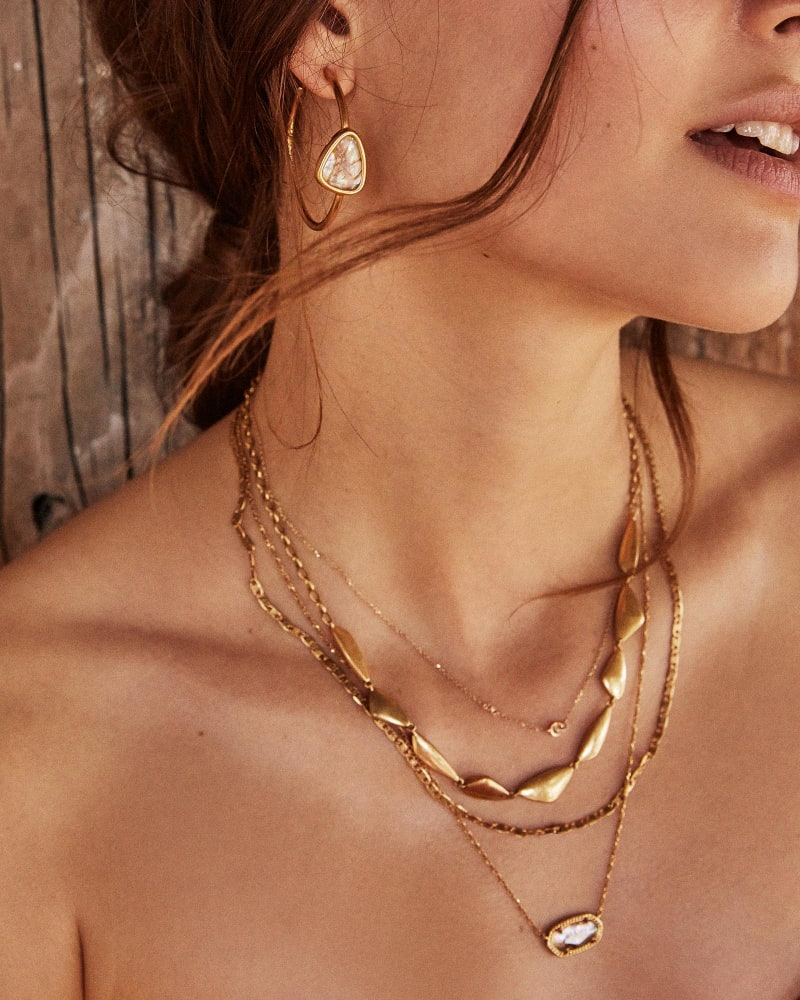 Elisa Gold Multi Strand Necklace in Sea Green Chrysocolla