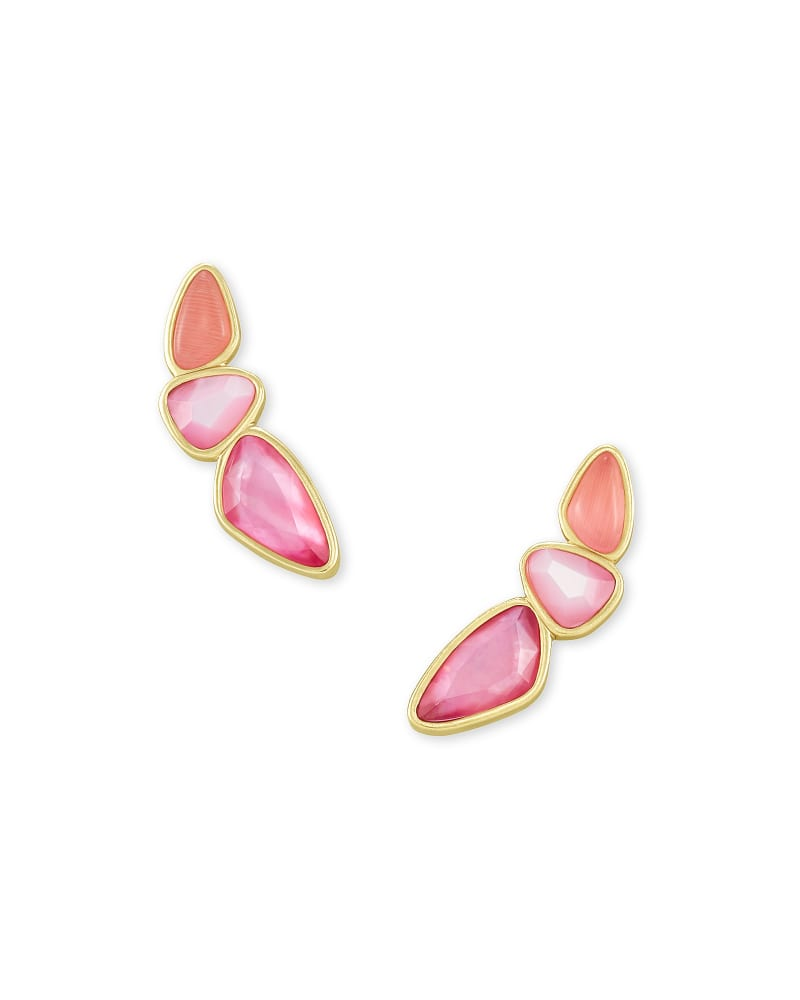 Ivy Gold Ear Climber Earrings in Deep Blush Mix
