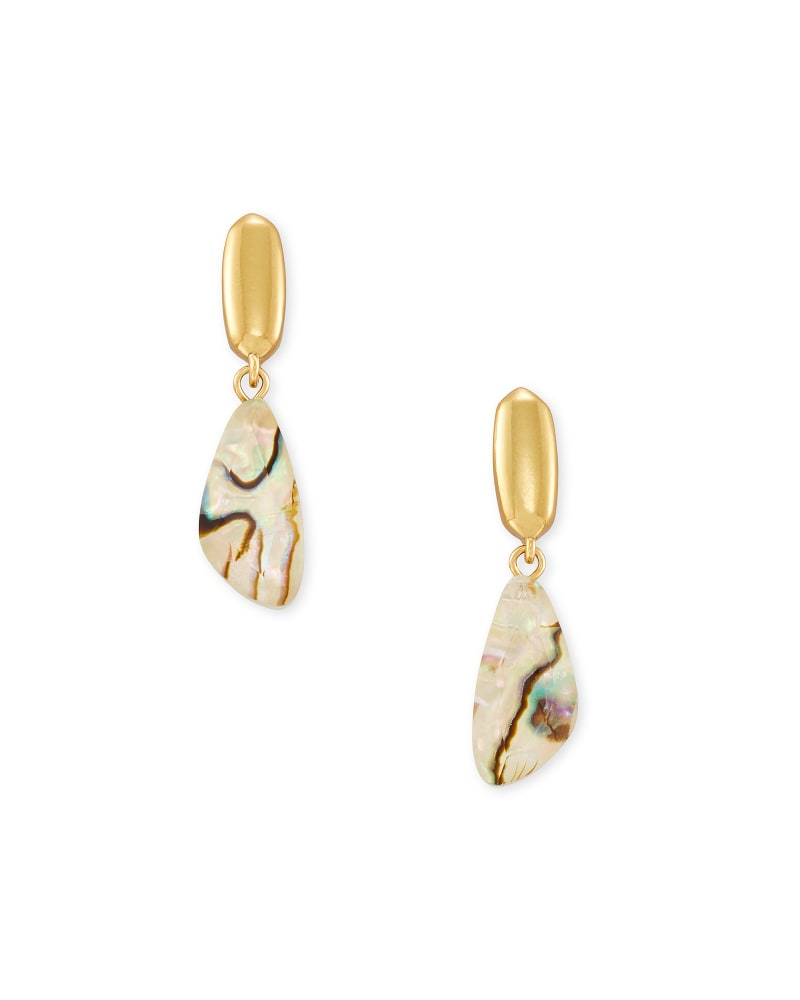 Ivy Vintage Gold Drop Earrings in White Abalone