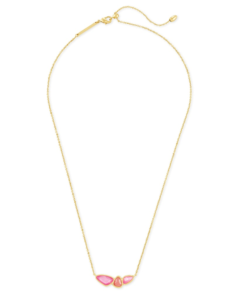 Ivy Gold Pendant Necklace in Deep Blush Mix