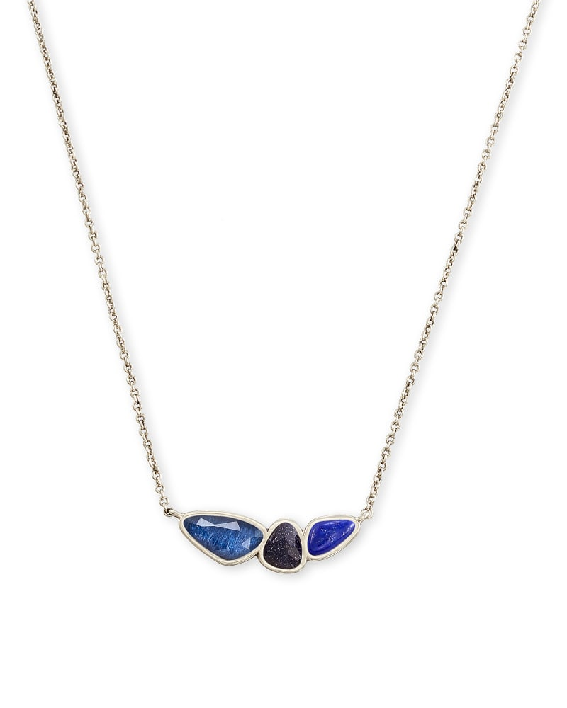 Ivy Vintage Silver Pendant Necklace in Navy Mix