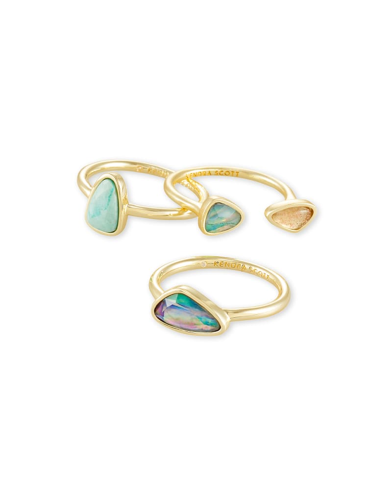 Ivy Gold Ring Set of 3 in Sea Green Mix