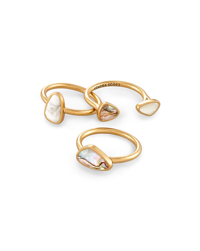 Ivy Vintage Gold Ring Set of 3 in White Mix
