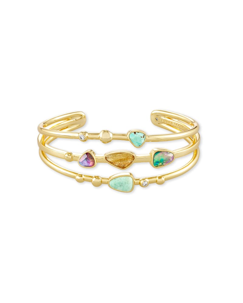 Ivy Gold Statement Bracelet in Sea Green Mix