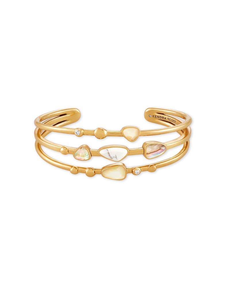 Ivy Vintage Gold Statement Bracelet in White Mix