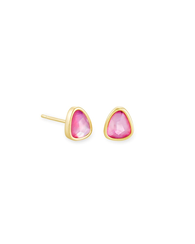 Ivy Gold Stud Earrings in Deep Blush Mother-of-Pearl