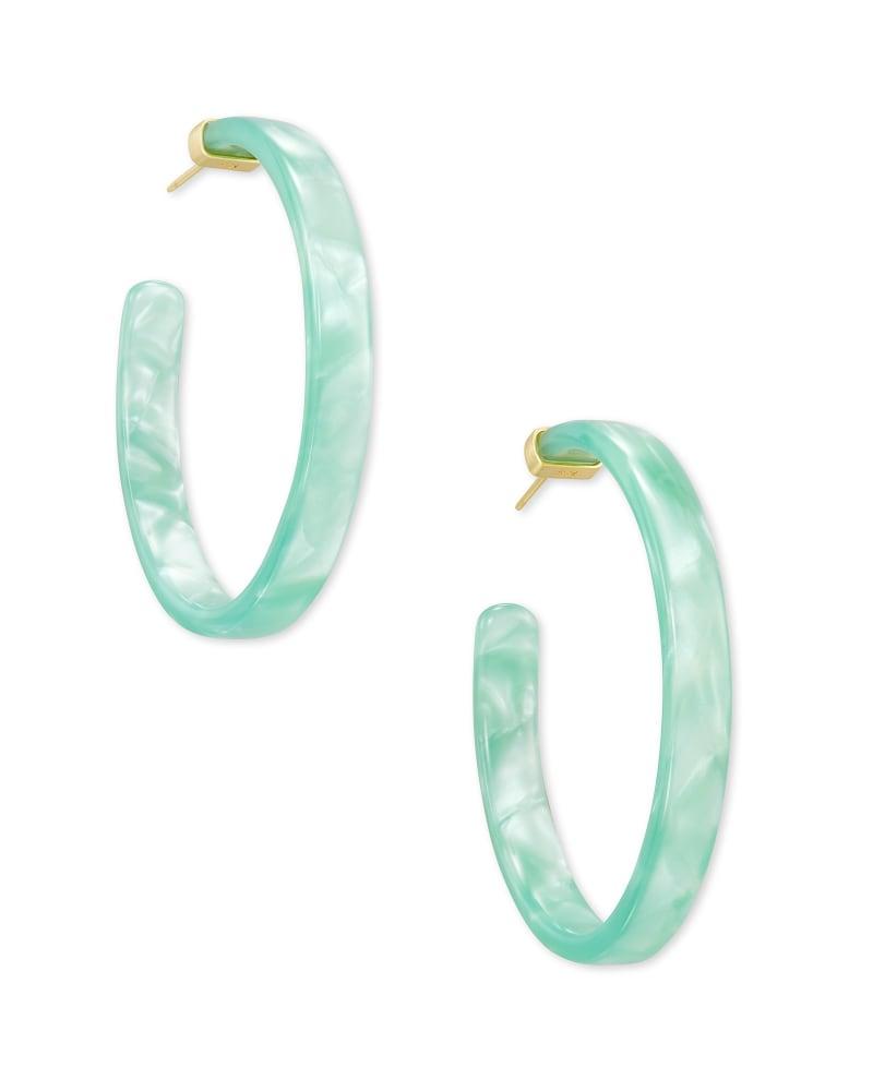 Kash Hoop Earrings in Sea Green Acetate