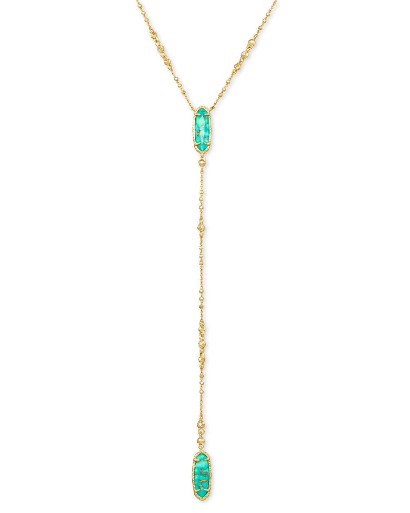 Layla Gold Y Necklace in Bronze Veined Teal Magnesite