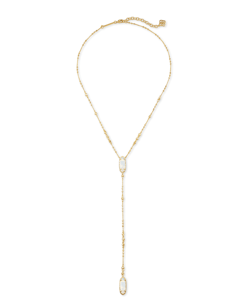 Layla Gold Y Necklace in Opalite Illusion
