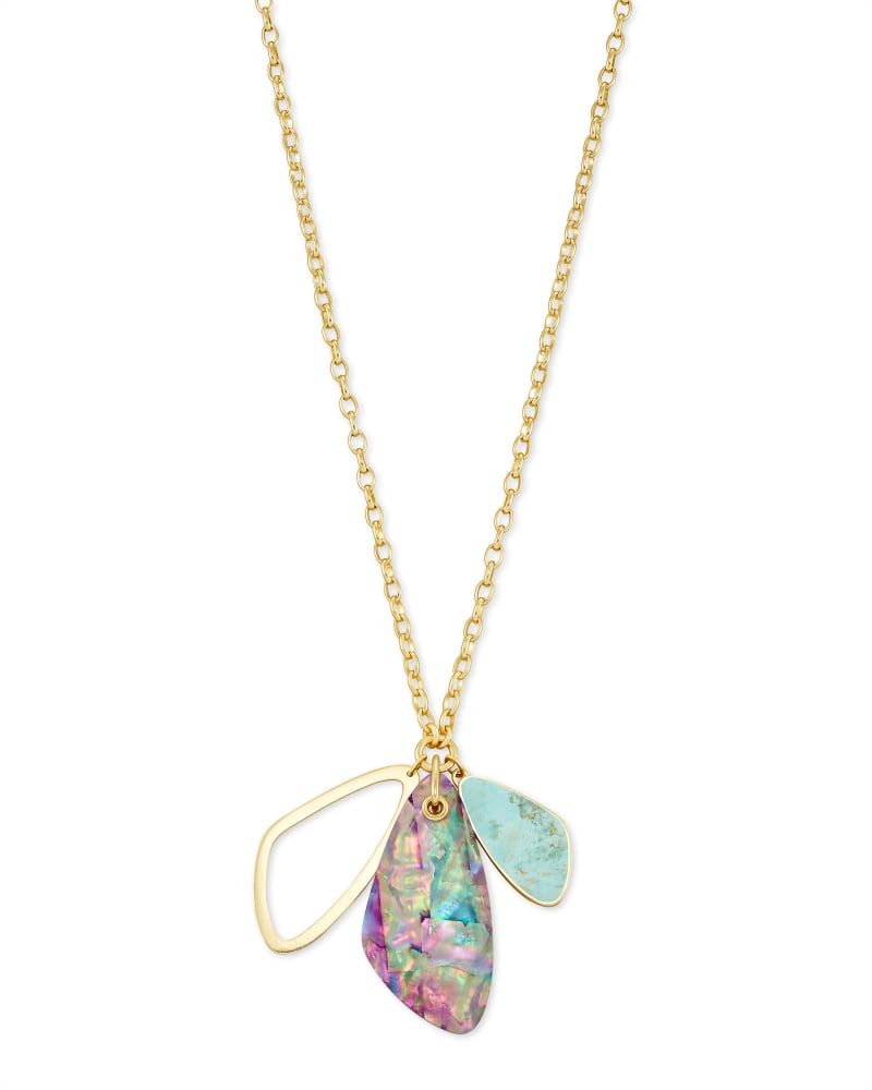 Mckenna Gold Charm Necklace in Sea Green Mix
