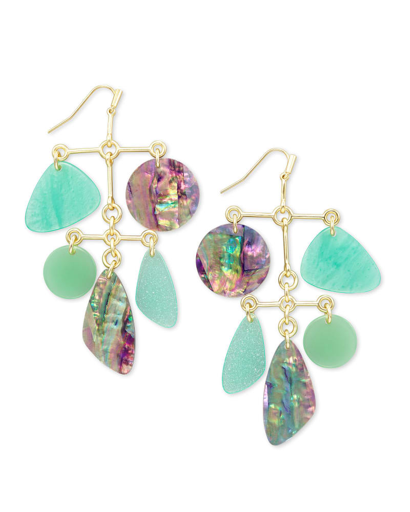 Mckenna Gold Statement Earrings in Sea Green Mix