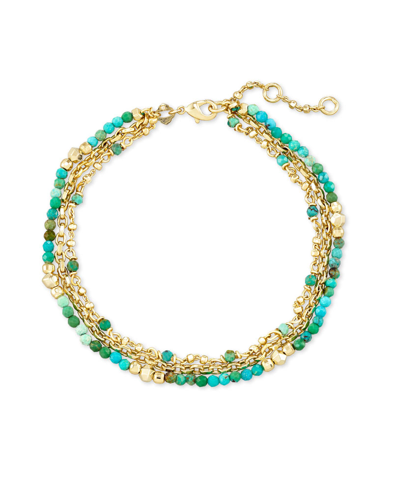 Scarlet Gold Chain Bracelet in Turquoise