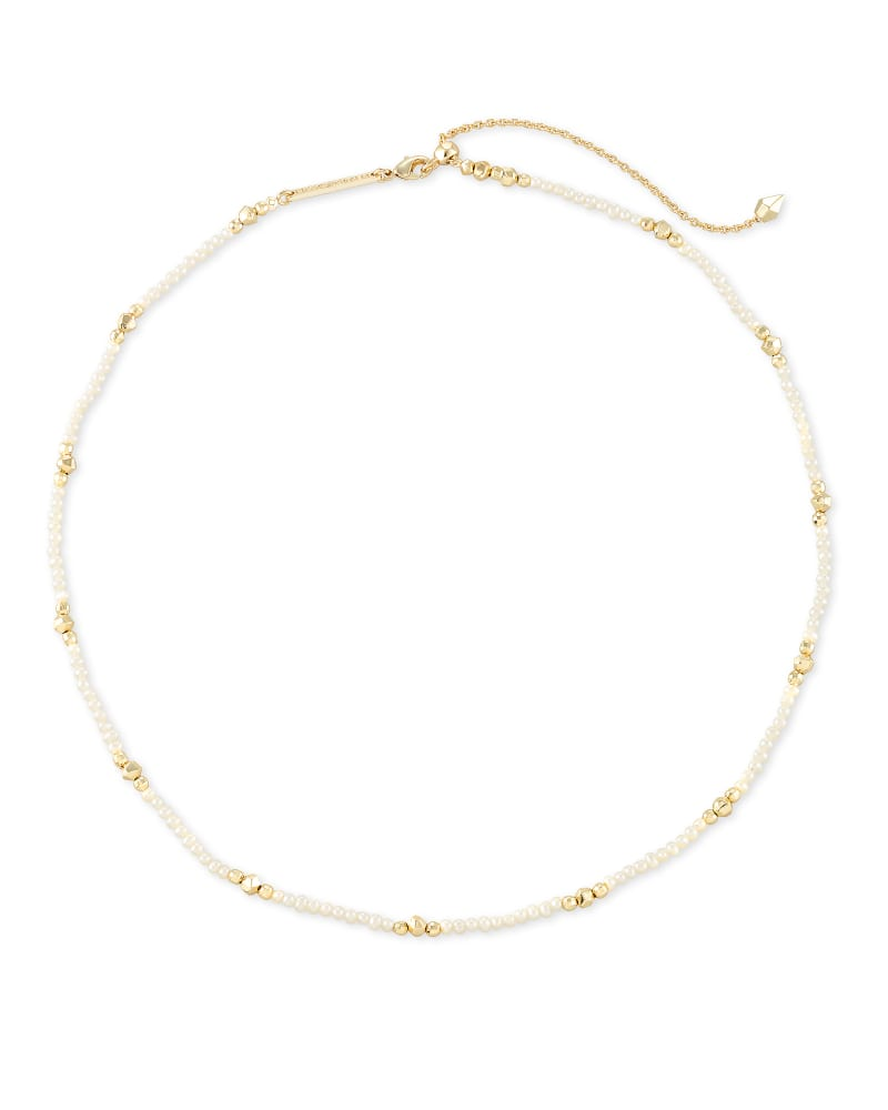 Scarlet Gold Choker Necklace in White Pearl