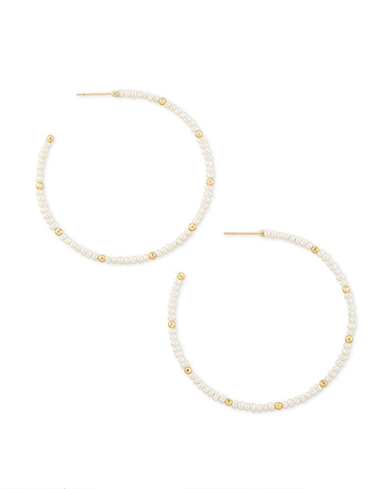 Scarlet Gold Hoop Earrings in White Pearl   Kendra Scott   Kendra Scott