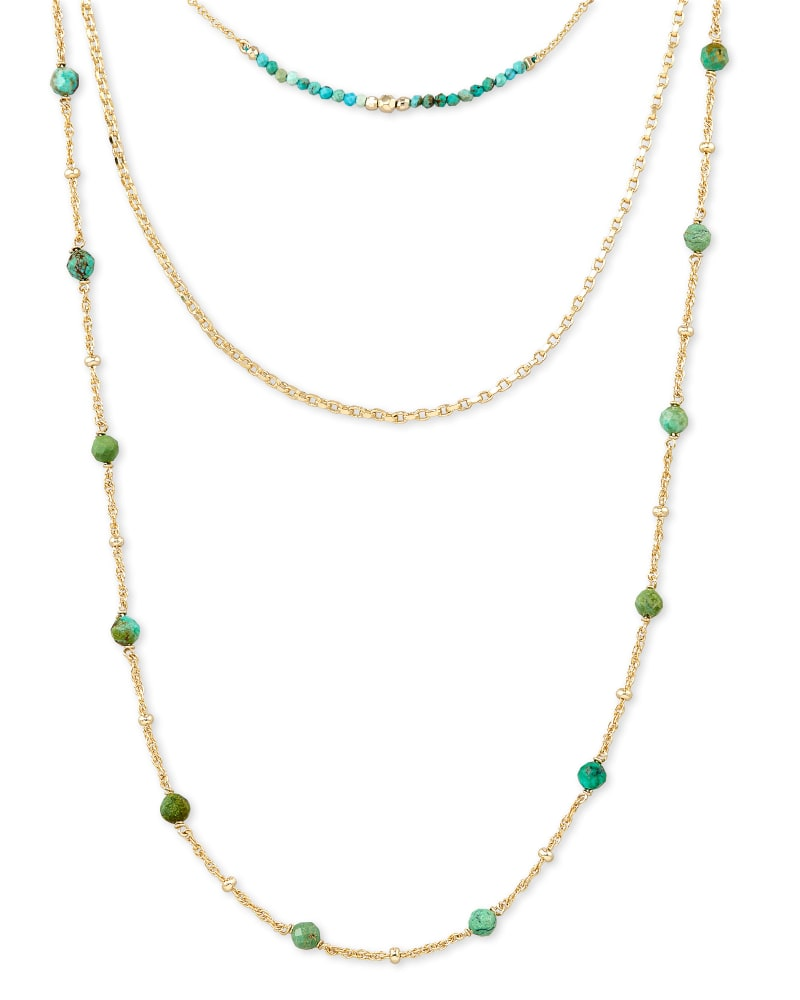 Scarlet Gold Multi Strand Necklace in Turquoise