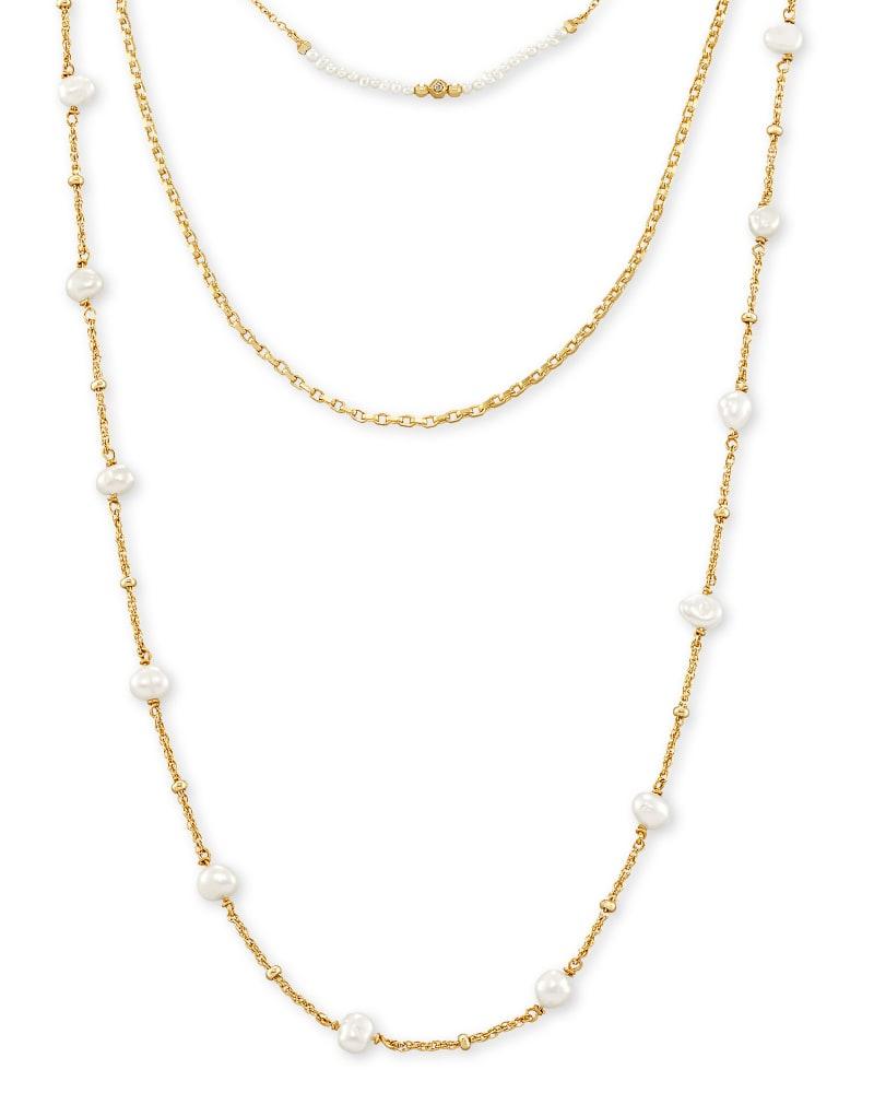 Scarlet Gold Multi Strand Necklace in White Pearl