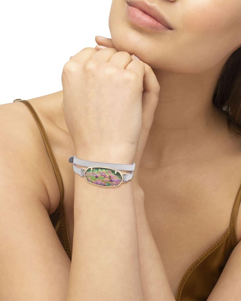 Elle Gold Wrap Bracelet in Lilac Abalone