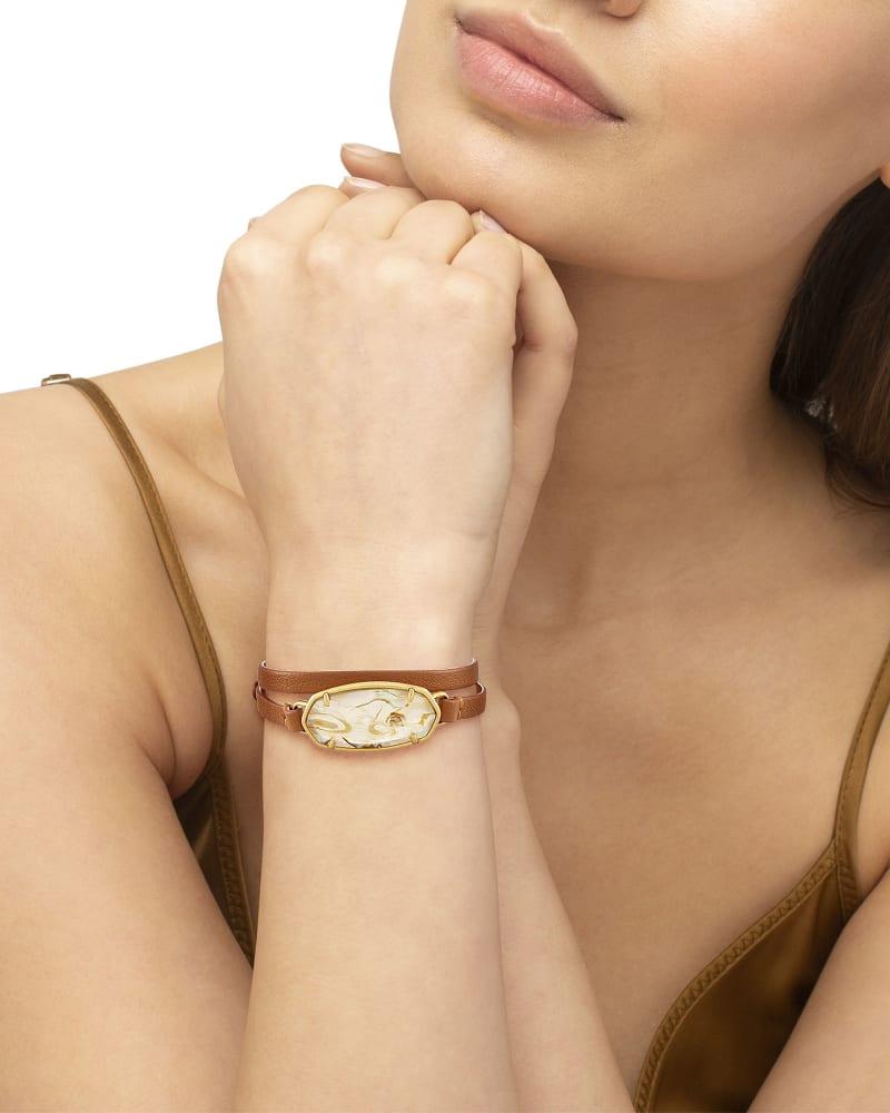 Elle Brown Wrap Bracelet in White Abalone