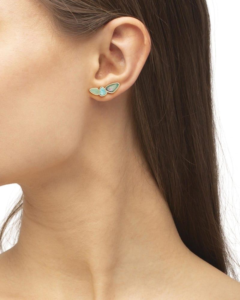 Ivy Gold Ear Climber Earrings in Sea Green Mix