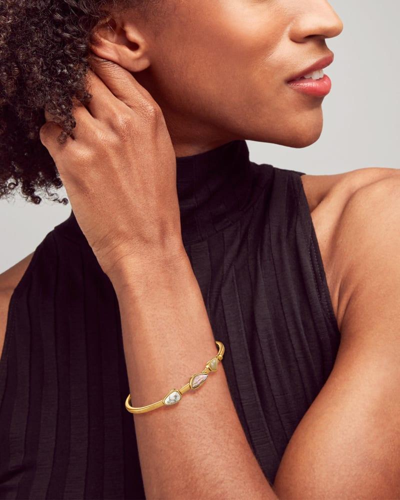 Ivy Vintage Gold Cuff Bracelet in White Mix
