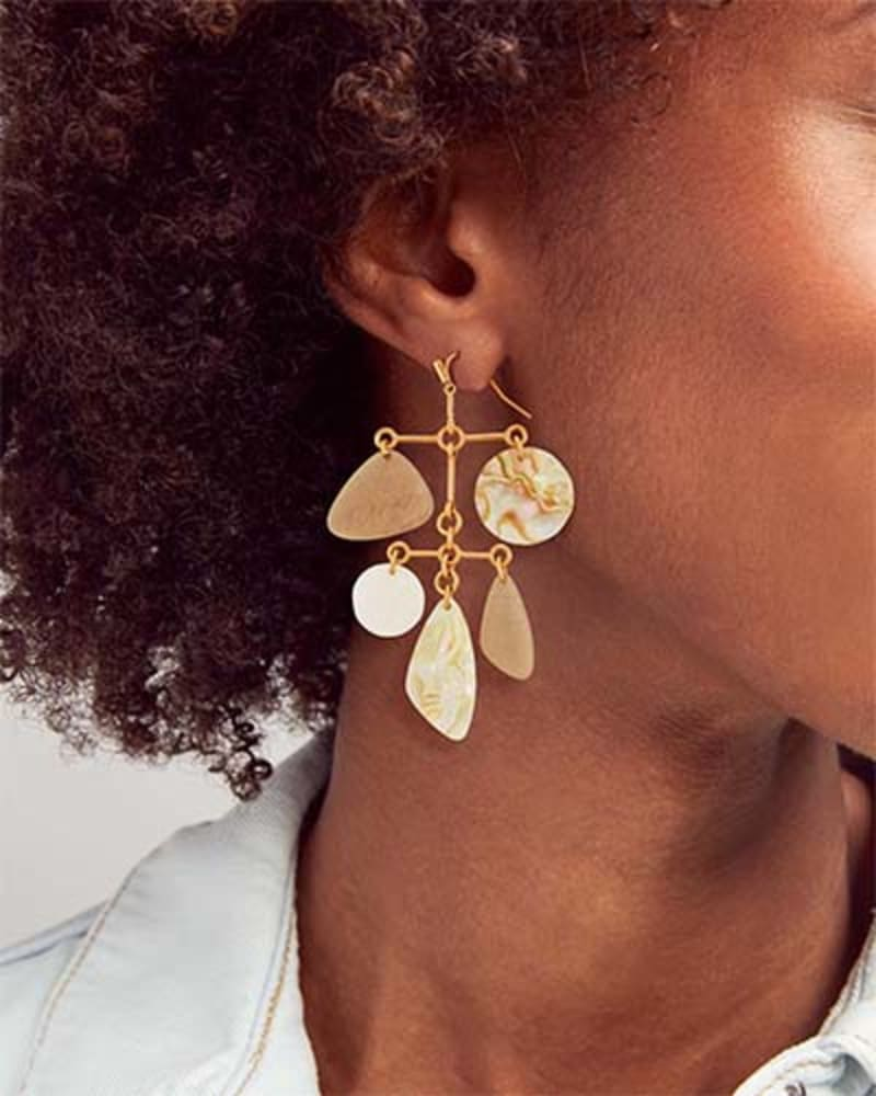 Mckenna Vintage Gold Statement Earrings in White Mix