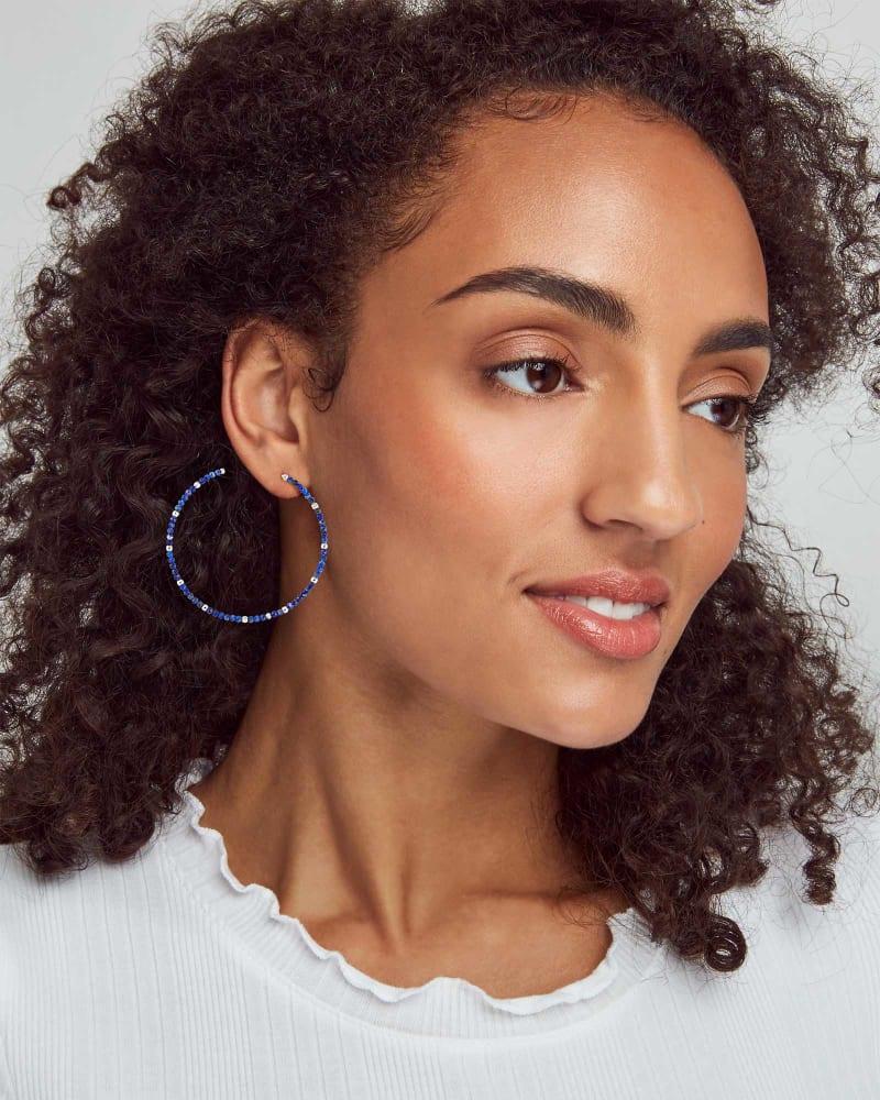 Scarlet Silver Hoop Earrings in Blue Lapis