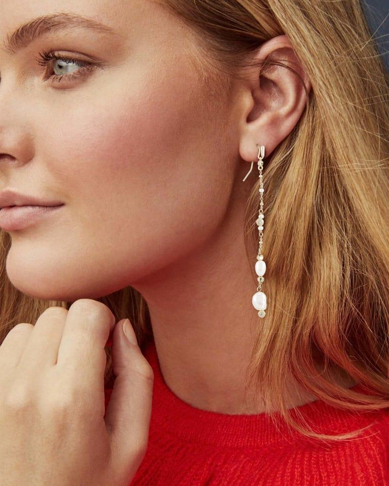 Scarlet Gold Linear Earrings in White Pearl