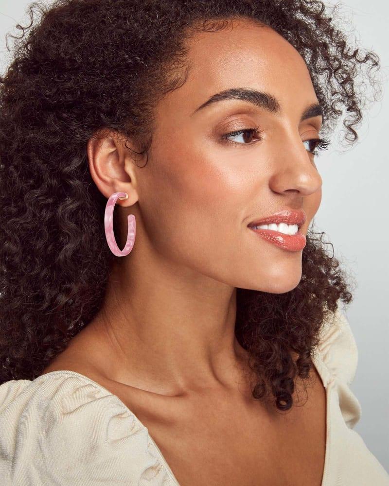 Kash Hoop Earrings in Deep Blush Acetate