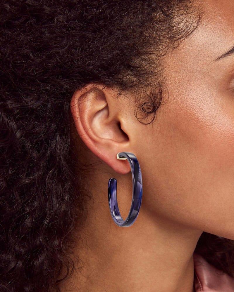 Kash Hoop Earrings in Indigo Acetate