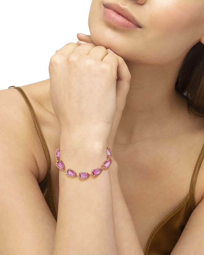 Susanna Gold Link Bracelet in Deep Blush Mother-of-Pearl