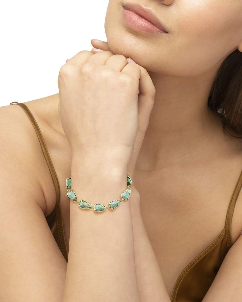 Susanna Gold Link Bracelet in Sea Green