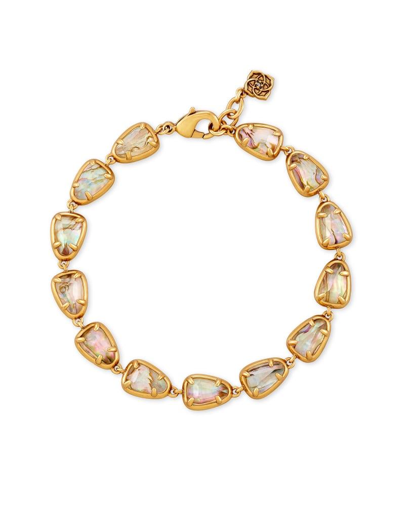 Susanna Vintage Gold Link Bracelet in White Abalone