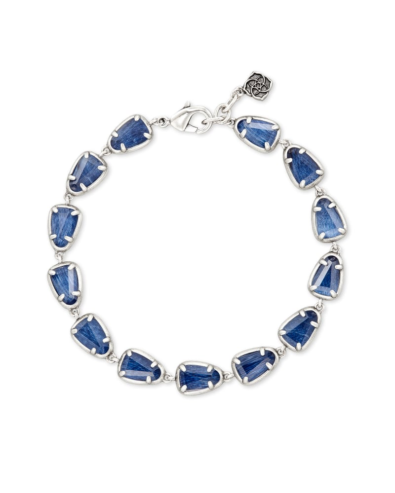 Susanna Vintage Silver Link Bracelet in Navy Wood