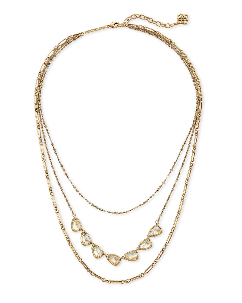 Susanna Vintage Gold Multi Strand Necklace in White Abalone