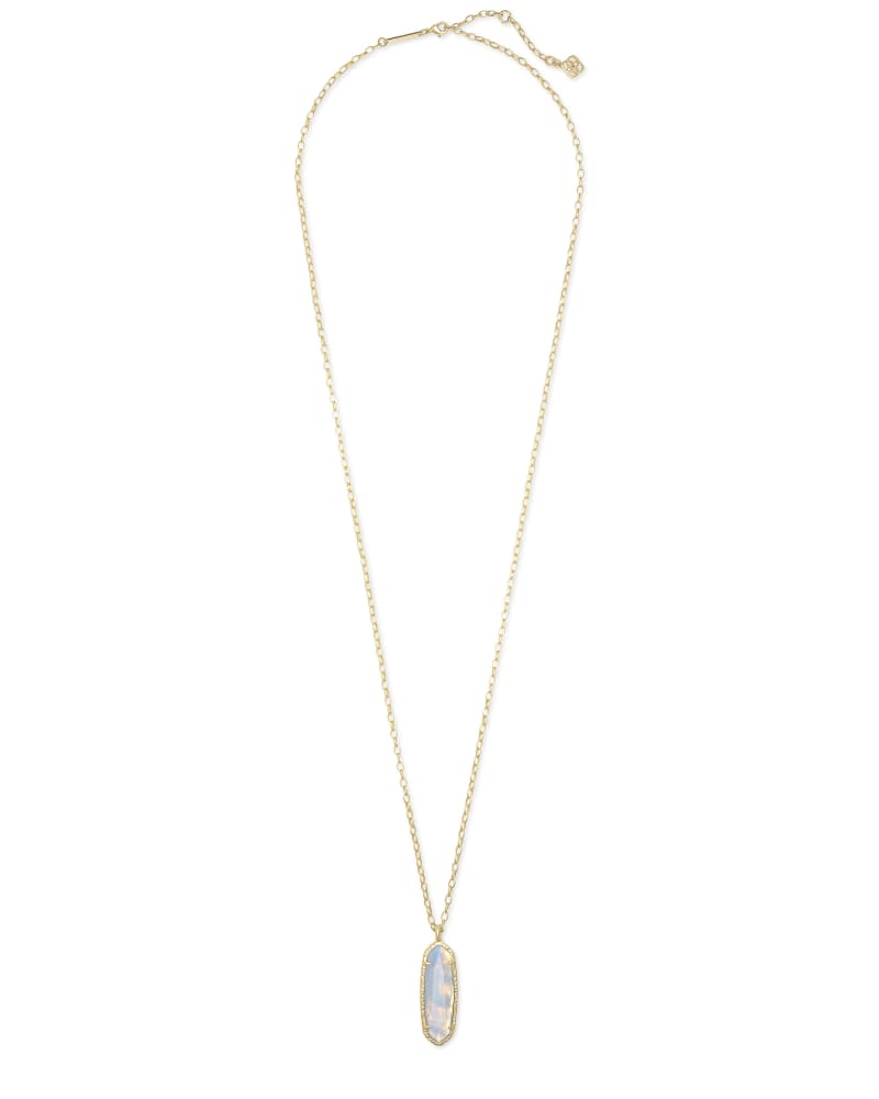 Layla Gold Long Pendant Necklace in Opalite Illusion