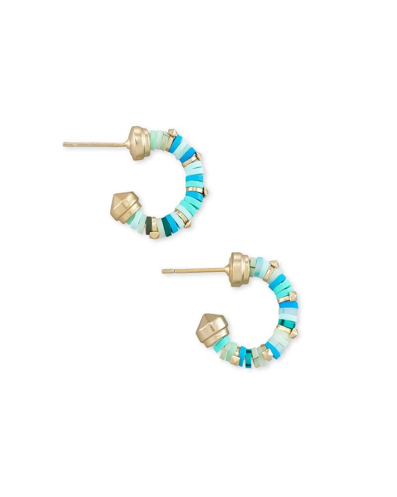 Reece Gold Huggie Earrings in Sea Green Mix