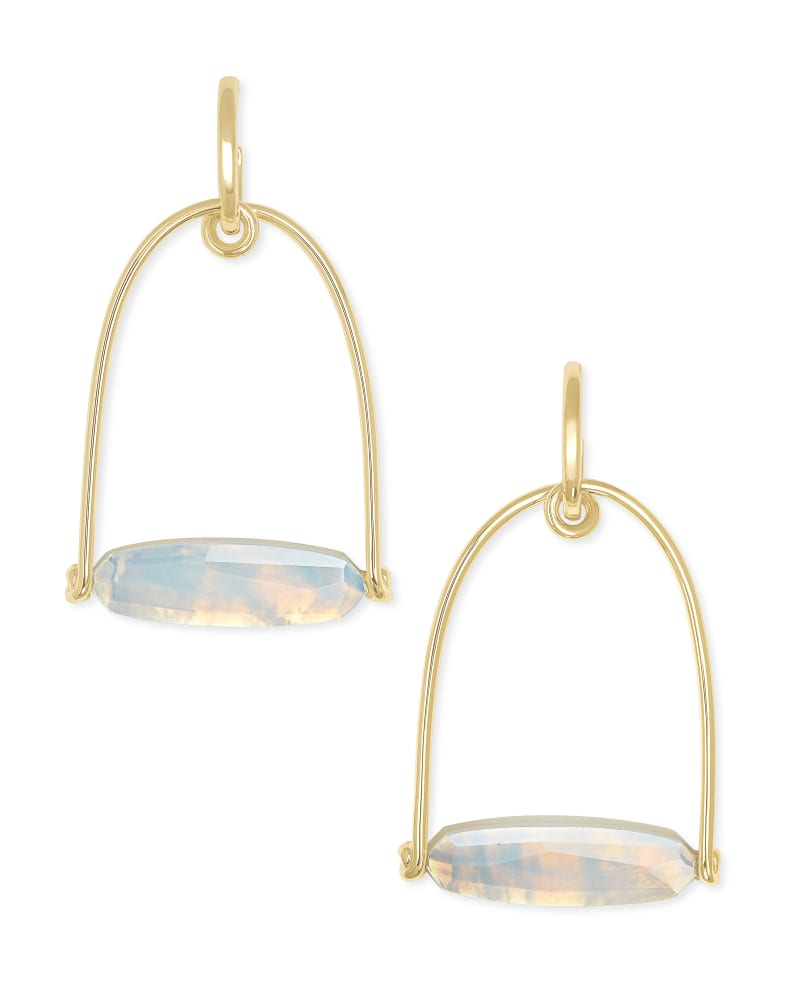 Sassy Gold Statement Earrings in Opalite Illusion