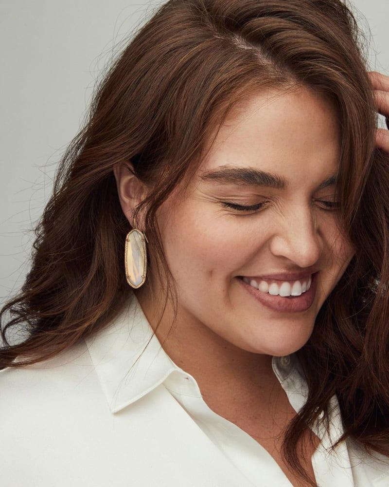Layla Gold Drop Earrings in Opalite Illusion